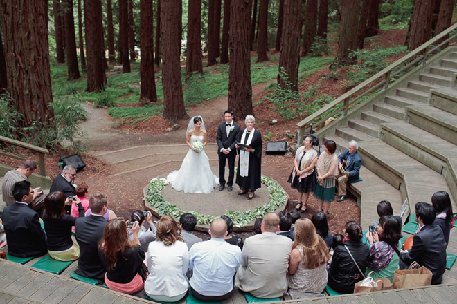 wedding ceremony at the redwood grove at the UC Berkeley Botanical Garden