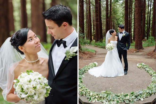 Bride and groom standing in Redwood Grove at their UC Berkeley Botanical Garden Wedding