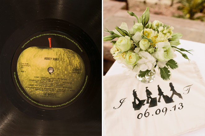 Abbey Road Beatles record as wedding favor