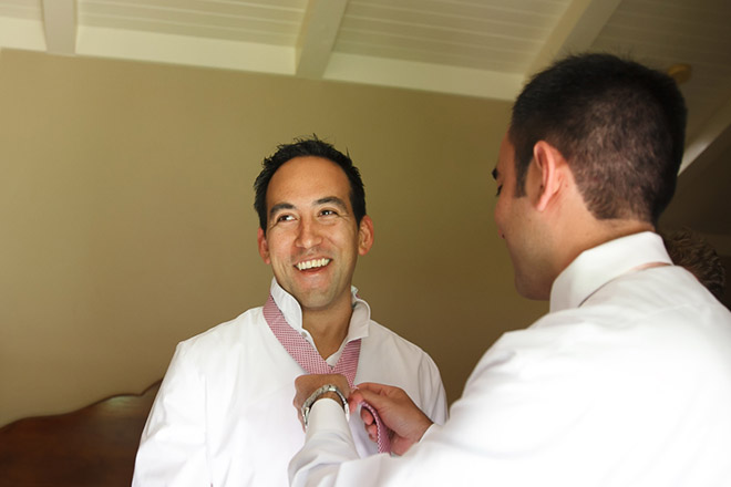 Groom getting ready at the Bernardus Lodge in Carmel