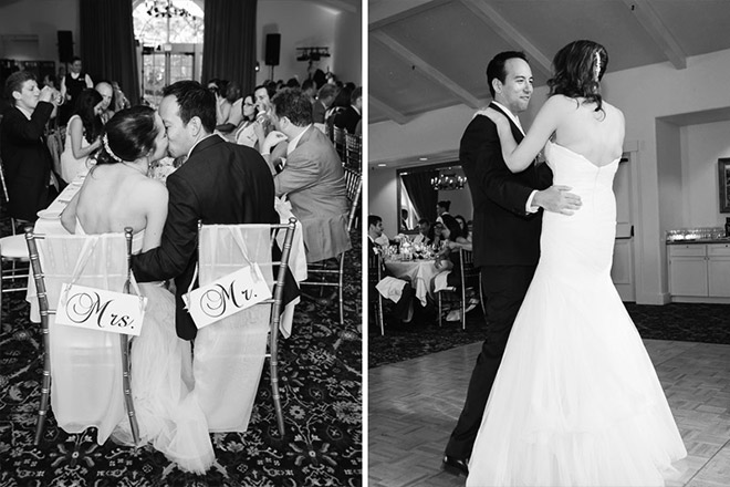 Bride and groom sharing their first dance as a married couple