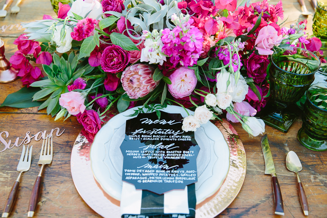 pink and green wedding flower arrangement with bougainvillea native to Palm Springs