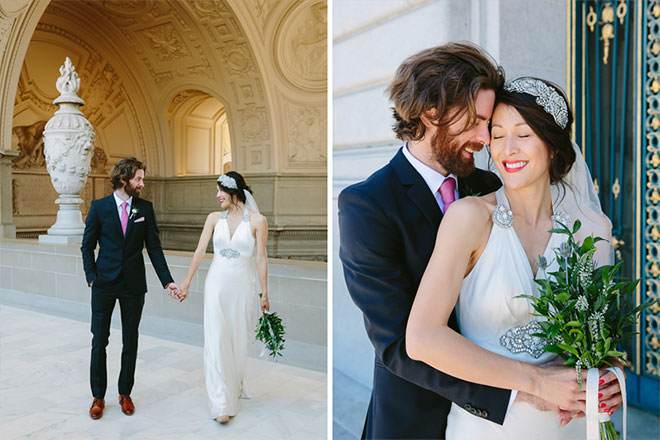 Bride and groom walking at their San Francisco City Hall wedding
