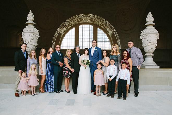 San Francisco wedding photographer, family portrait on Fourth Floor of San Francisco City Hall