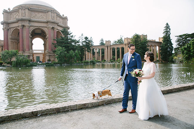 San Francisco wedding photographer, bride and groom at the Palace of Fine Arts