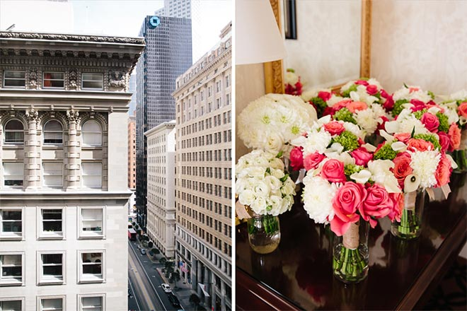 salmon pink and white floral bouquets for a San Francisco wedding