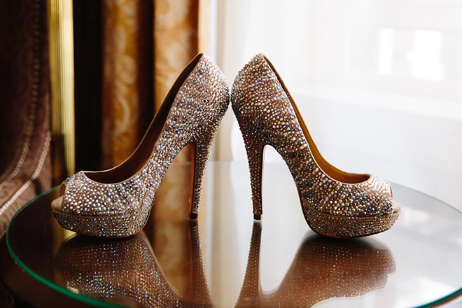 glittery wedding shoes for the bride