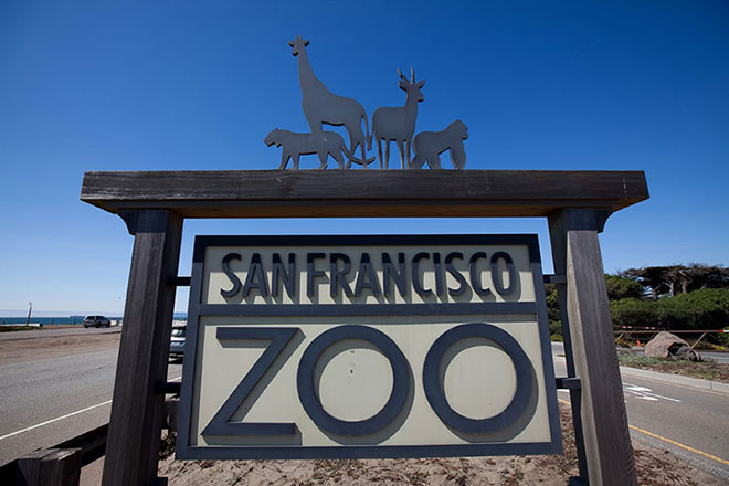 Entrance sign for the San Francisco zoo