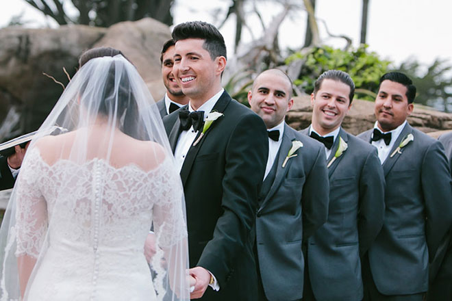 Groom looking at the bride at their San Francisco Zoo wedding