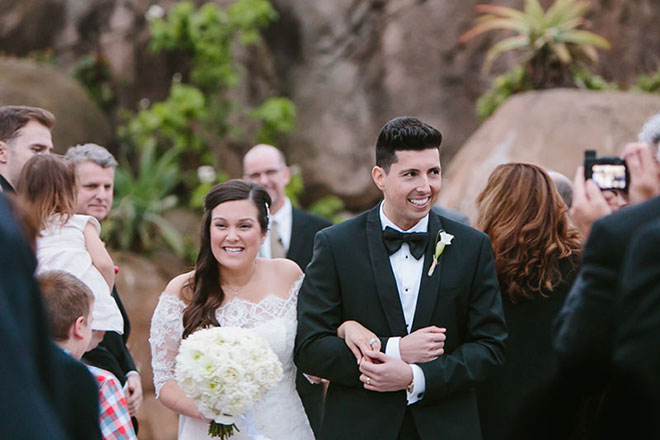 Bride and groom walking down the aisle at the San Francisco Zoo wedding