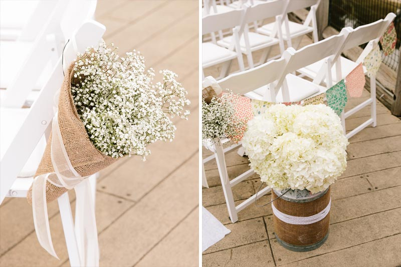 white baby's breath floral arrangement for wedding