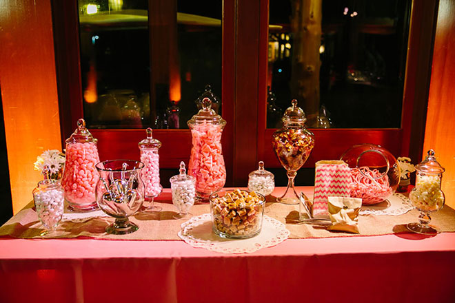 pink dessert bar with candies