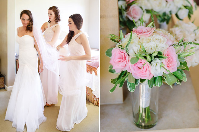 Bride and bridesmaids getting ready at the Bernardus Lodge in Carmel