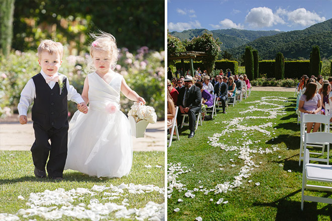 Bride and her father walking with her at her wedding at the Bernardus Lodge in Carmel