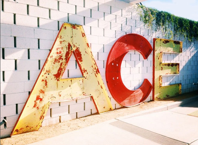 Ace Hotel metal sign in Palm Springs