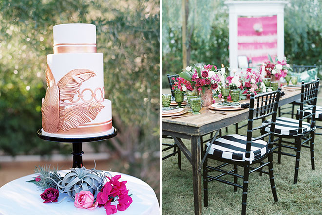 copper colored and white wedding cake with palm tree decoration