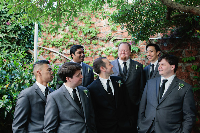 Groom and groomsmen at Mill Valley wedding