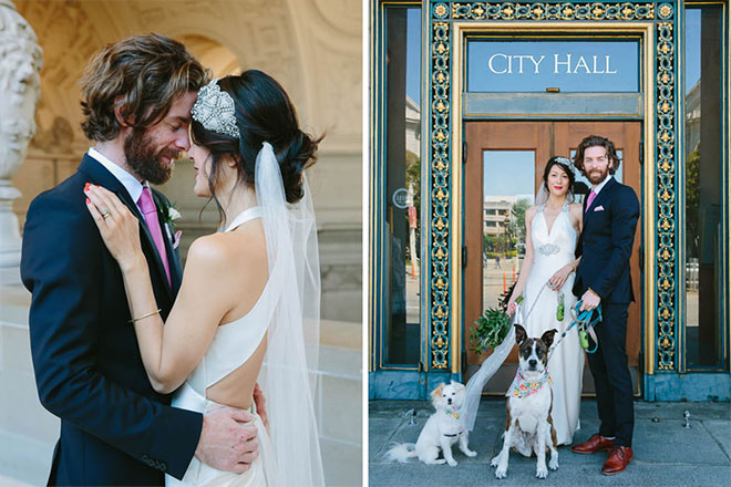 San Francisco City Hall wedding photos Bride and groom with their dogs