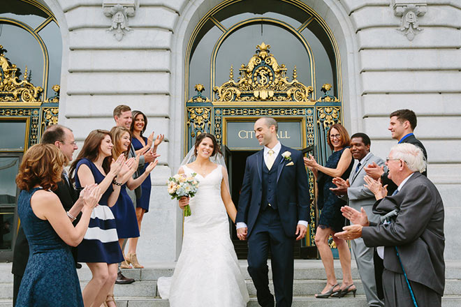 Bride and groom at their San Francisco City Hall elopement