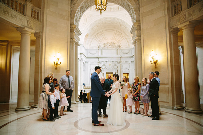 San Francisco wedding photographer, City Hall wedding ceremony in Rotunda