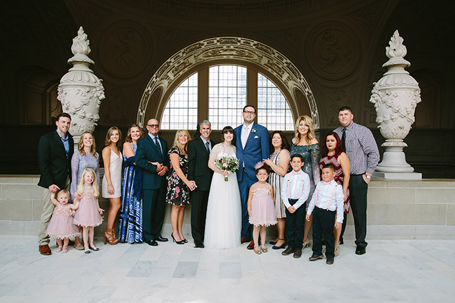 San Francisco wedding photographer, family portrait on Fourth Floor of San Francisco City Hall