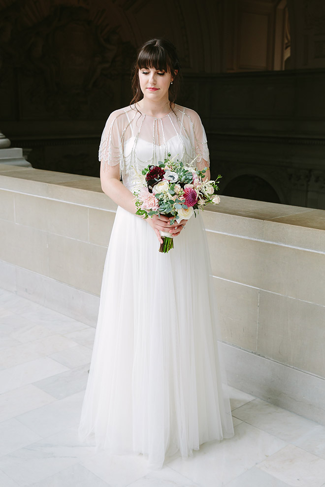 San Francisco wedding photographer, bridal portrait at San Francisco City Hall