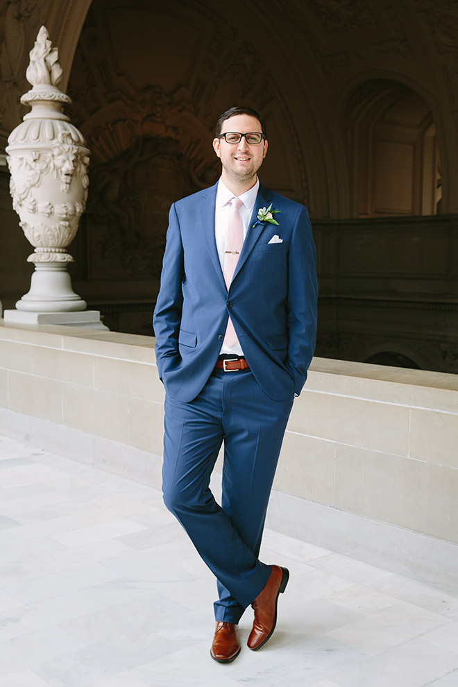San Francisco wedding photographer, groom portrait at San Francisco City Hall