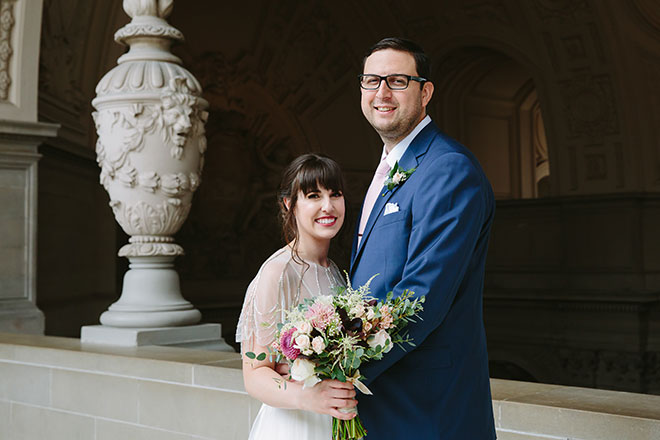 San Francisco wedding photographer, bride and groom at their San Francisco City Hall wedding
