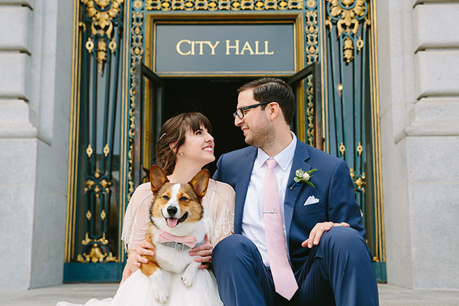 San Francisco wedding photographer, bride and groom with their dog at San Francisco City Hall