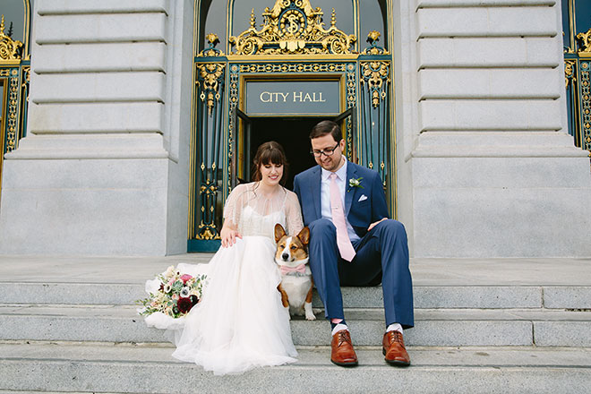 San Francisco wedding photographer, bride and groom with their corgi dog at San Francisco City Hall