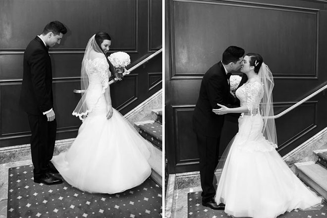 Bride and groom kissing in lobby of the Omni Hotel San Francisco