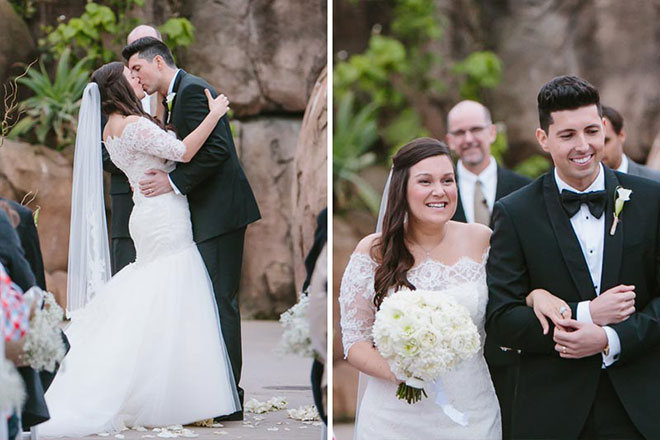 Bride and groom's first kiss and then they walk down the aisle