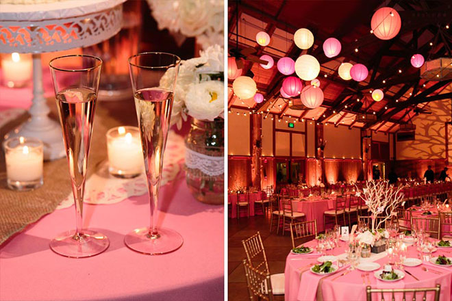 pink lantern decor at wedding