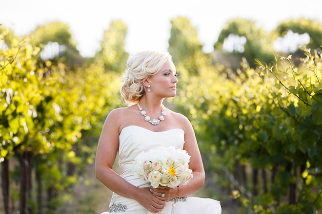 Bride holding her white floral bouquet
